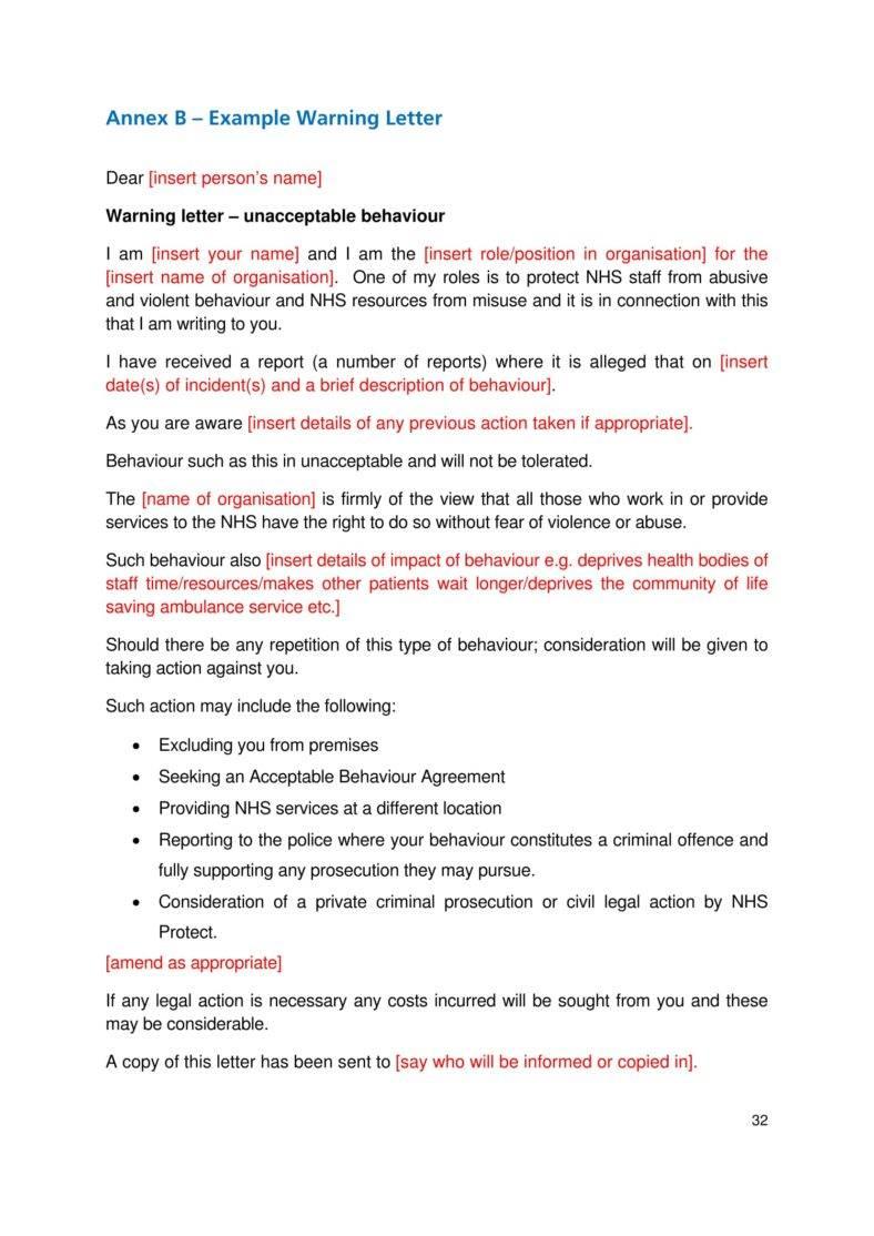 bad behavior warning letter template 33 788x1114
