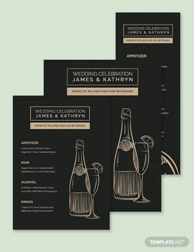 bar drink wedding menu template