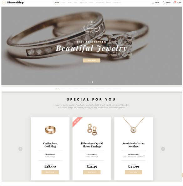 beautiful jewelry responsive website theme
