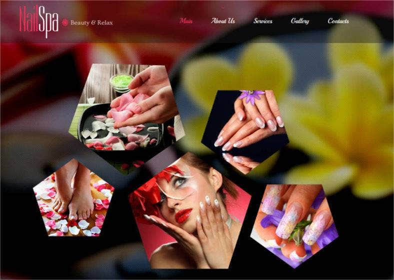 beauty website template for nails salon 788x560