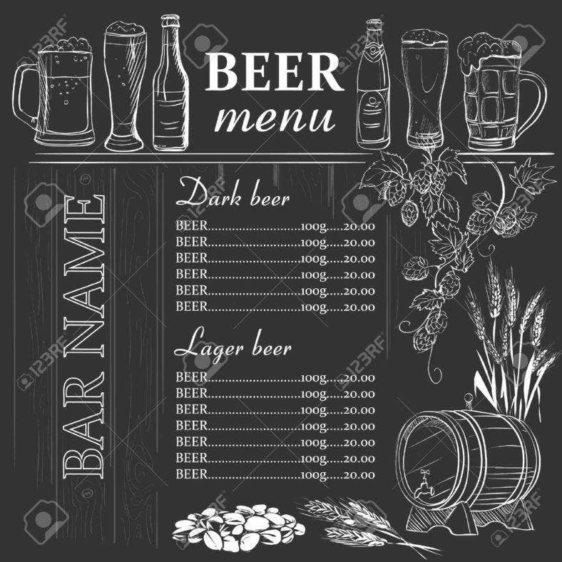 beer-menu-hand-drawn-on-chalkboard