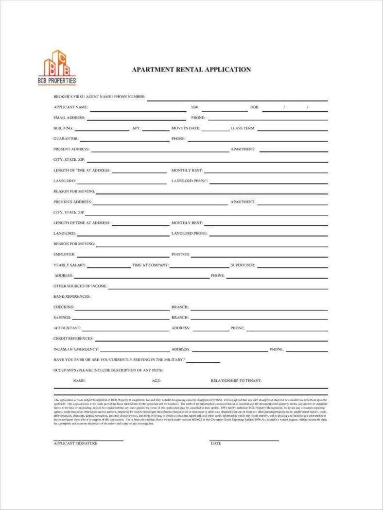 30 Lease Application Forms Free Samples Examples