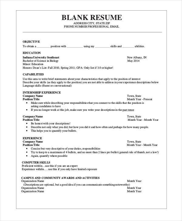 37  printable resume templates
