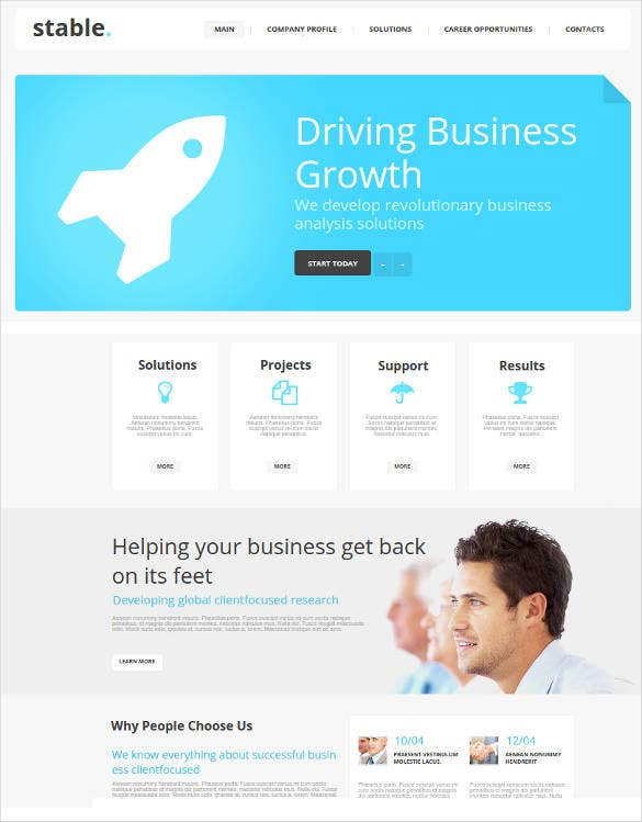 business website template with accents