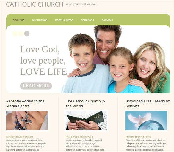 catholic church moto cms html template