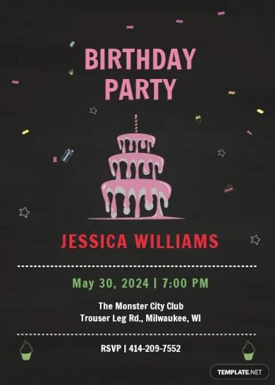 chalkboard birthday invitation template