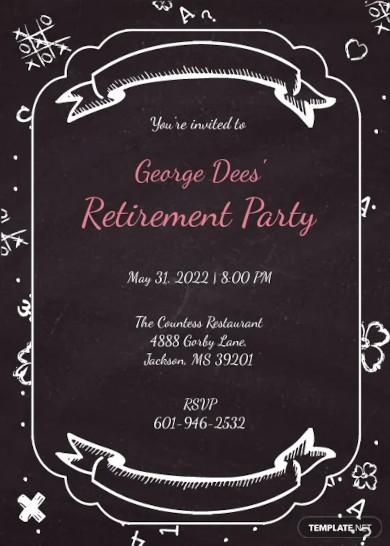 chalkboard retirement party invitation
