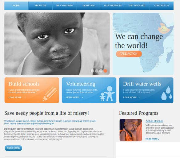 charity website template for nonprofit organization