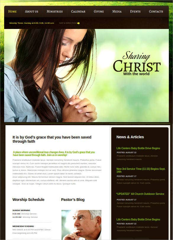 christian church website template with gallery