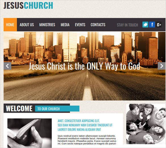 church and non profit organization website template