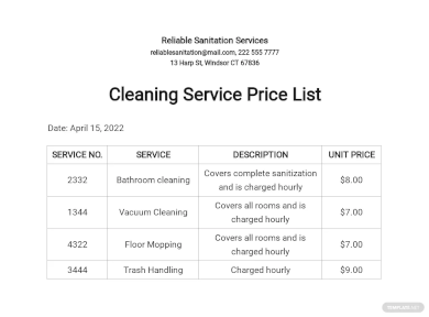 16 Cleaning Price List Templates Free Word Pdf Excel Format Download Free Premium Templates