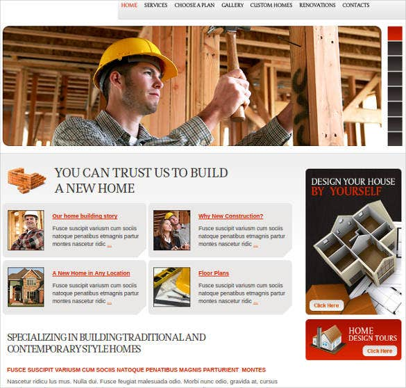 construction company website theme template