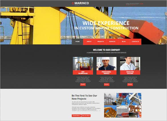 construction industry responsive website design