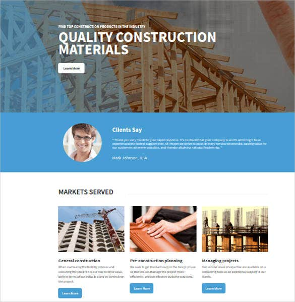 construction material website template