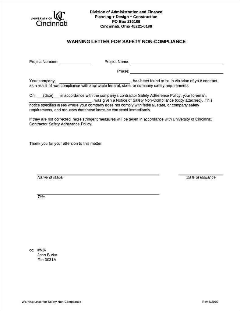 10 professional warning letters template free premium for Construction types for insurance