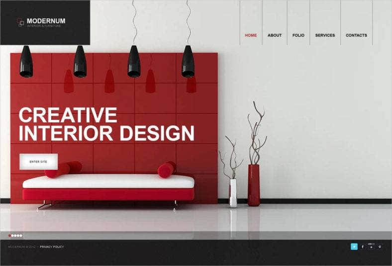 40 interior design website templates free premium for Interior design layout templates