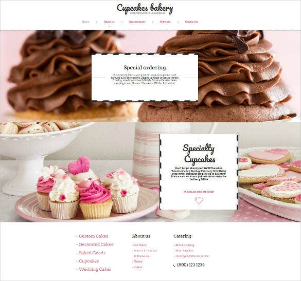 cupcakes bakery html website theme