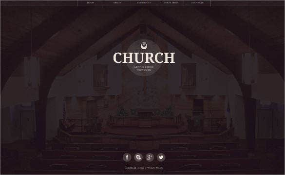 cute church website template
