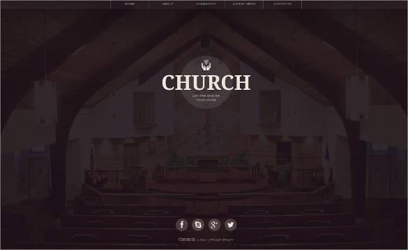 cute church website template