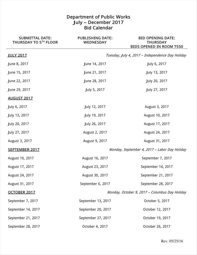 bid calendar template