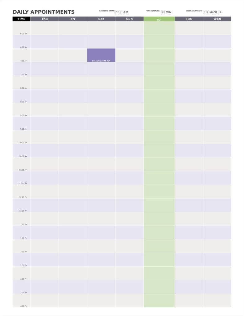 9  day calendar templates free samples  examples formats
