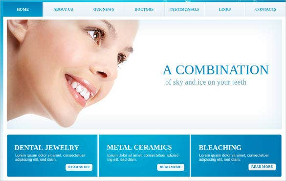 dental care website theme with shining design