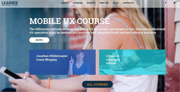 educational courses website design