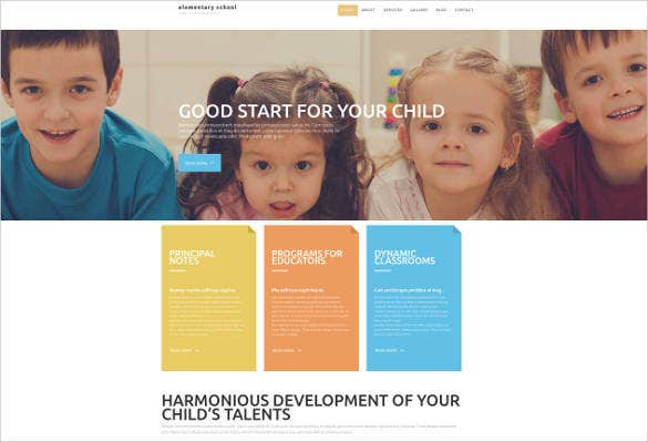 elementary school website theme template1