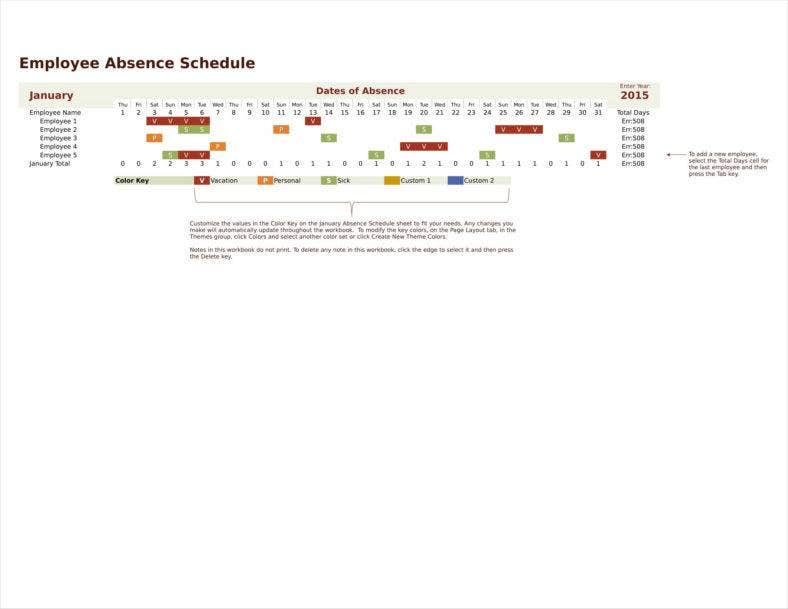employee vacation absence schedule template 011 788x609