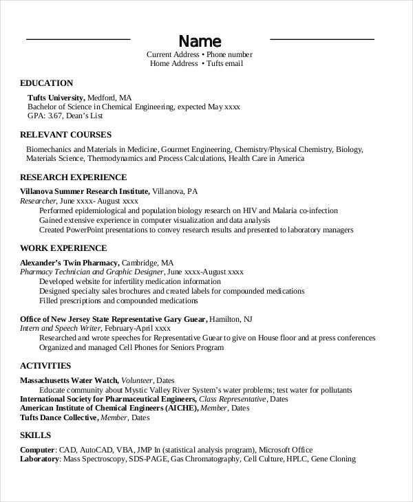 engineering chronological resume