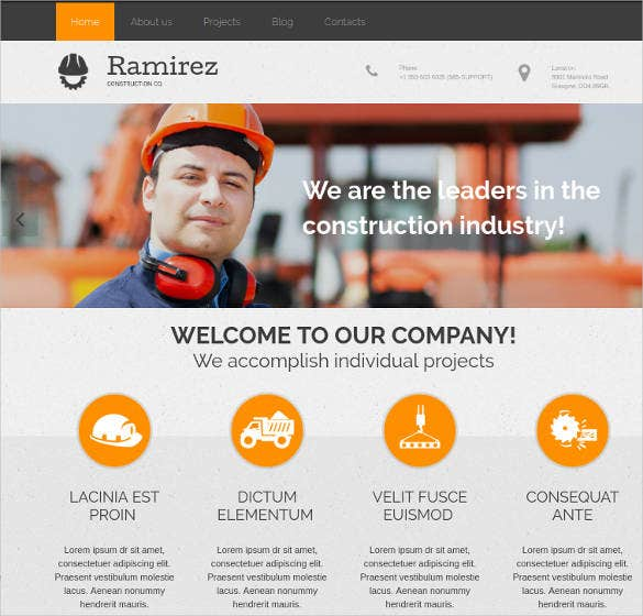 engineering construction industry website template