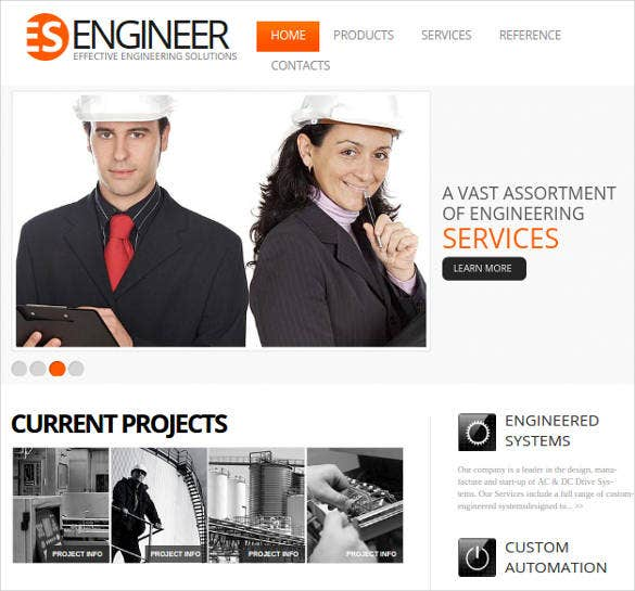 engineering website theme for construction company