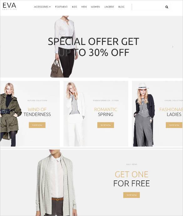 eva clothing ecommerce website theme
