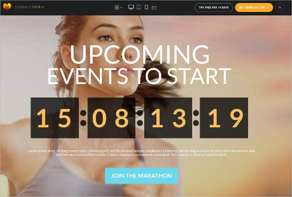 events sports website theme template