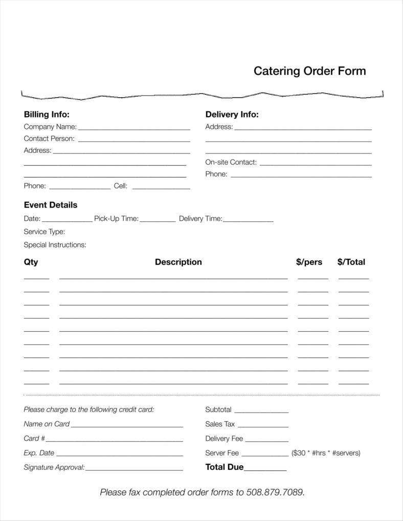 example template to download catering order form 11 788x1019