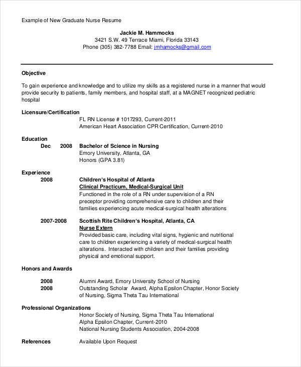 example of a new graduate nurse resume