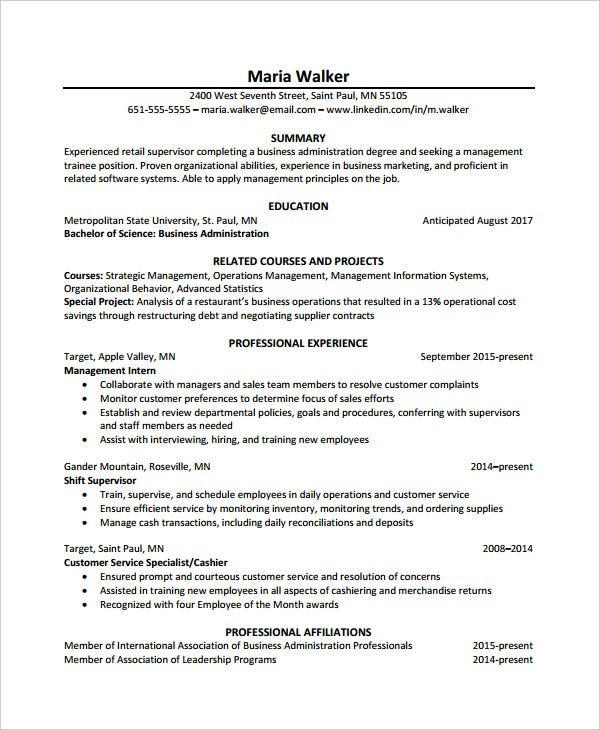 experienced retail chronological resume