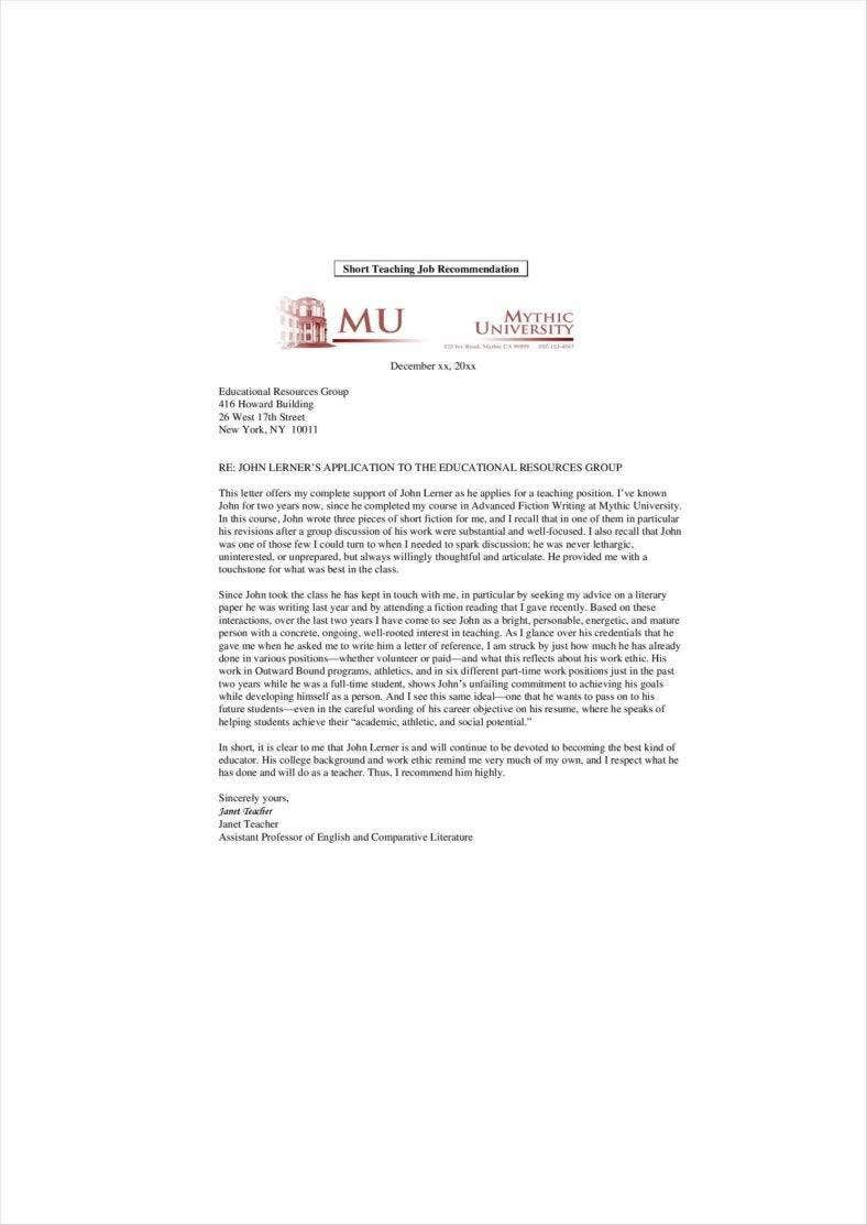 sample recommendation letters for employment