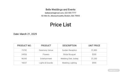 fall wedding services price list template