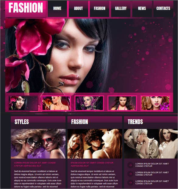 fashion website template with a jquery