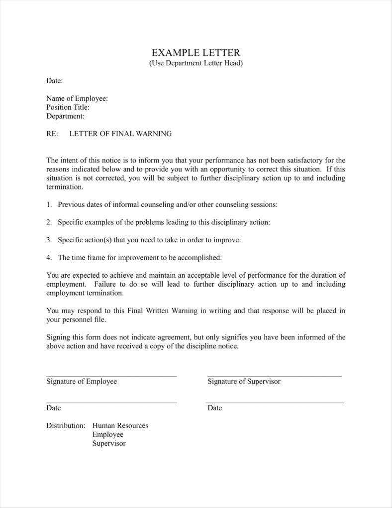 letter of warning to employee