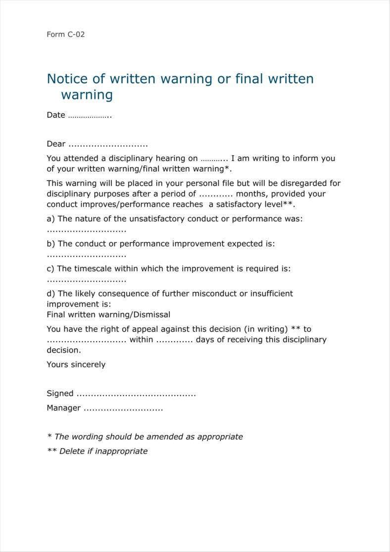 8  sample final warning letters free samples  examples