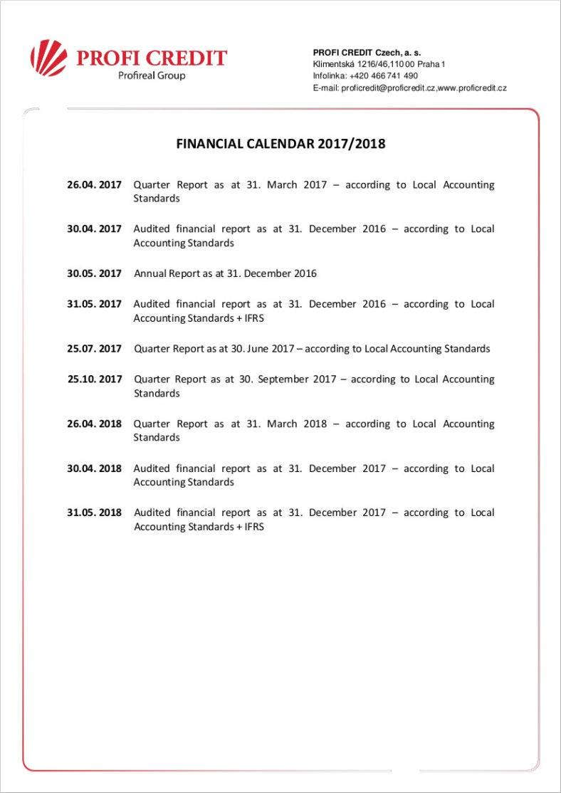 2017 2018 financial accounting calendar template