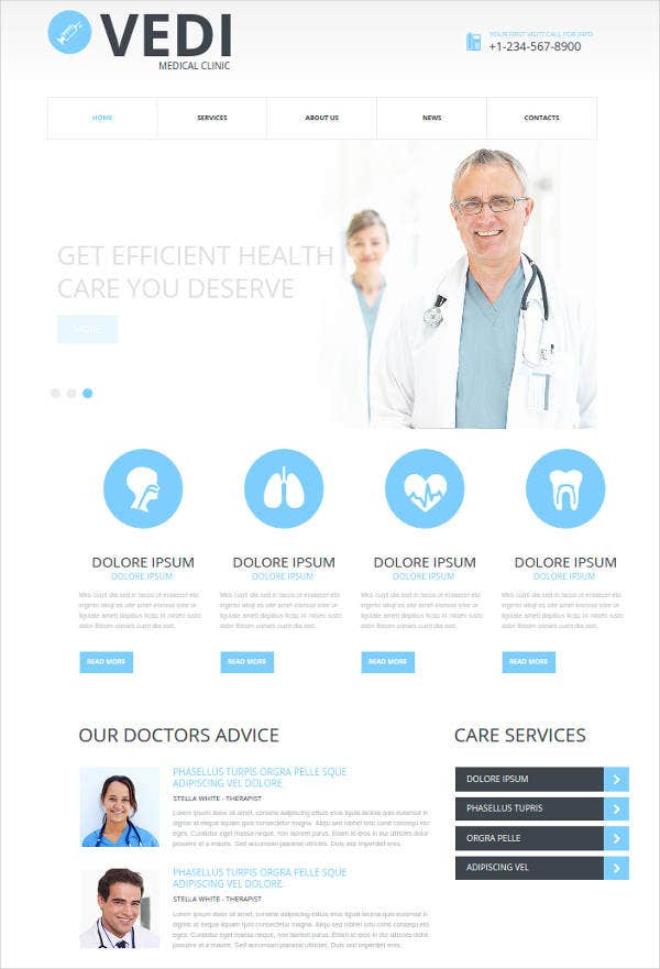 flat website design for medical clinic