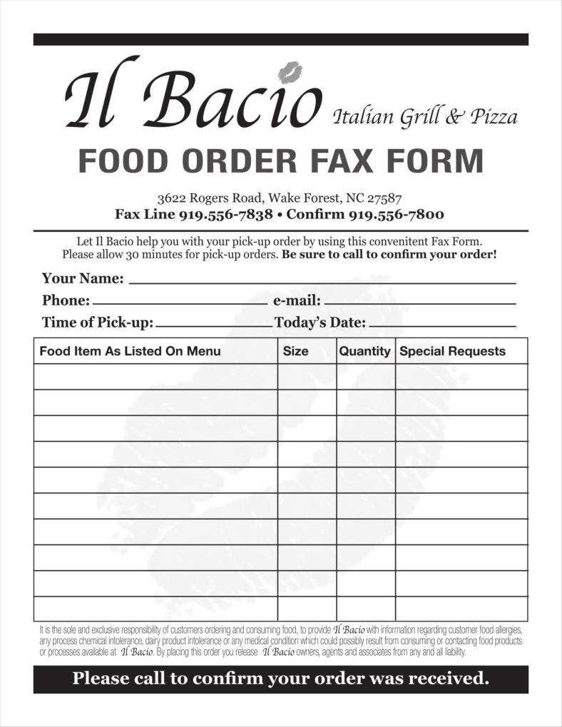 10  food order form templates
