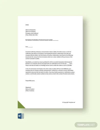 free business termination acceptance letter