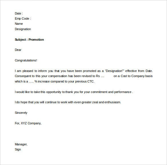 Perfect Free Promotion Appraisal Letter Sample