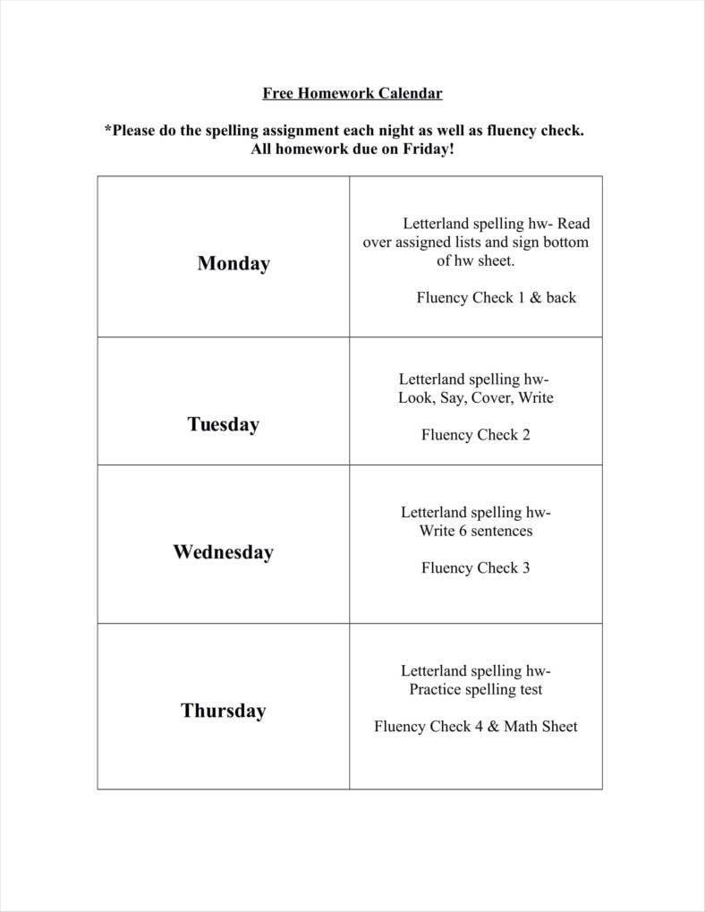 free homework calendar template 11 788x1019
