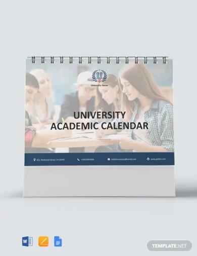 free university academic desk calendar template
