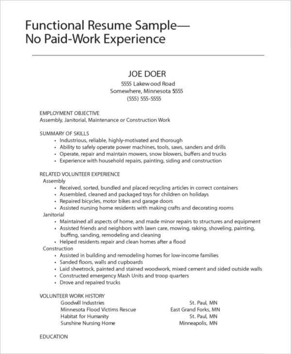 functional work experience resume sample